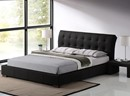 Boston Contemporary Black Faux Leather Bed Frame 5ft