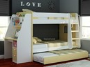 Olympic Bunk Beds With Desk And Trundle - Beech And White