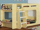 Shorty Bunk Beds In Beech With Shelf - Shorter Height Childrens Bunks