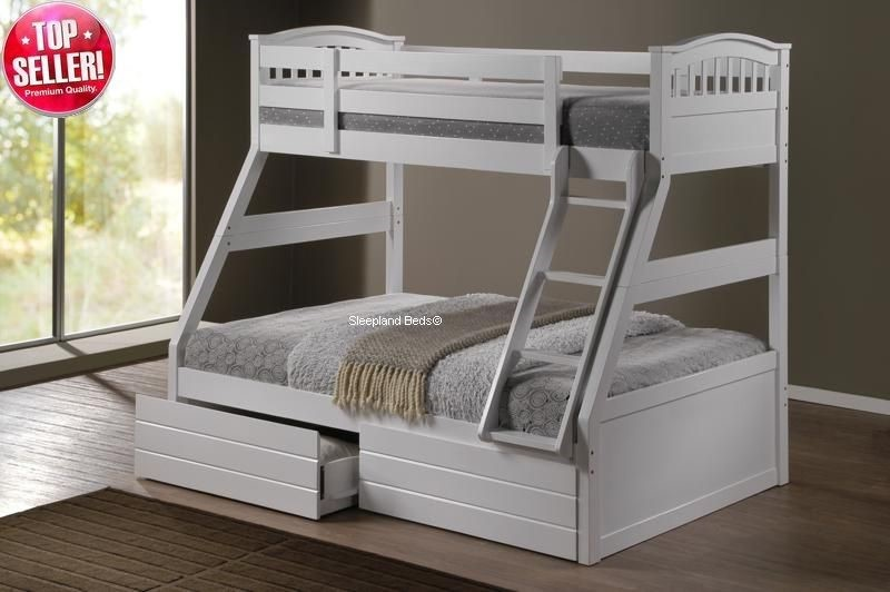White triple bunk bed cosmos white three sleeper white for White beds for sale