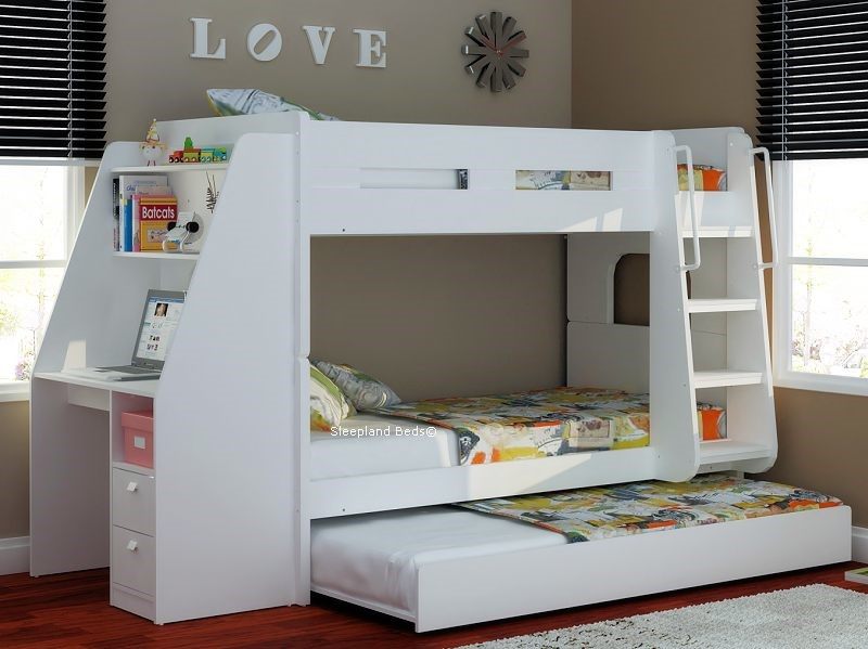 Olympic White Wooden Bunk Beds With Desk Storage And