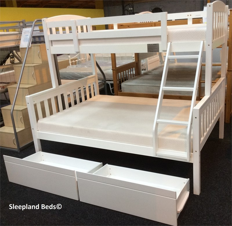 Cola White Wooden Triple Sleeper Bunk Bed With Two Storage