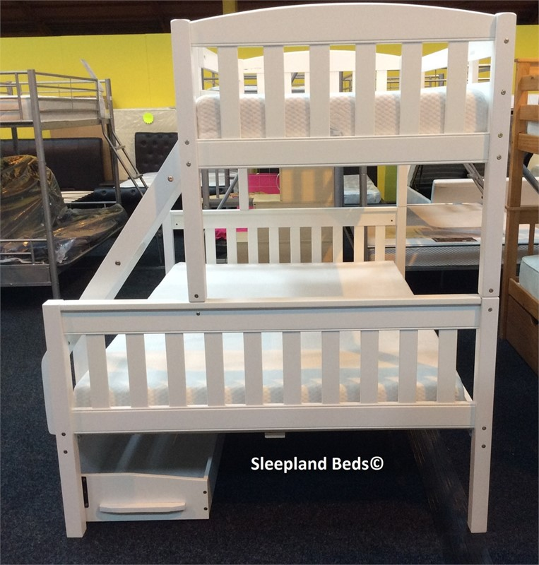 Cola White Wooden Triple Sleeper With Two Storage Drawers Free