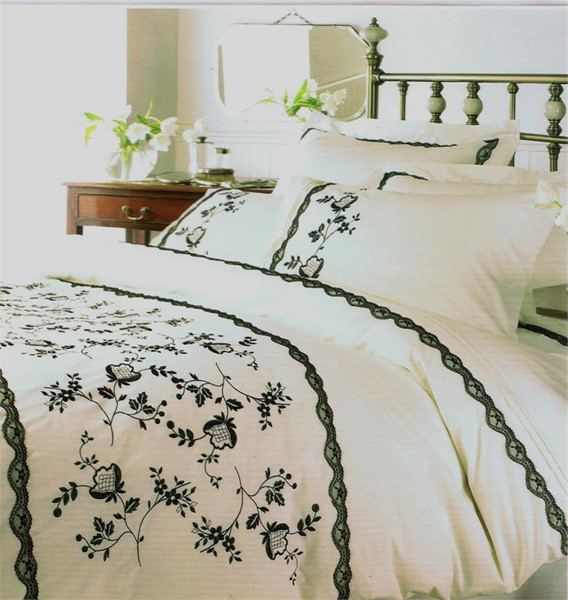 Changingbedrooms Com Double Size Cream Black Embroidered