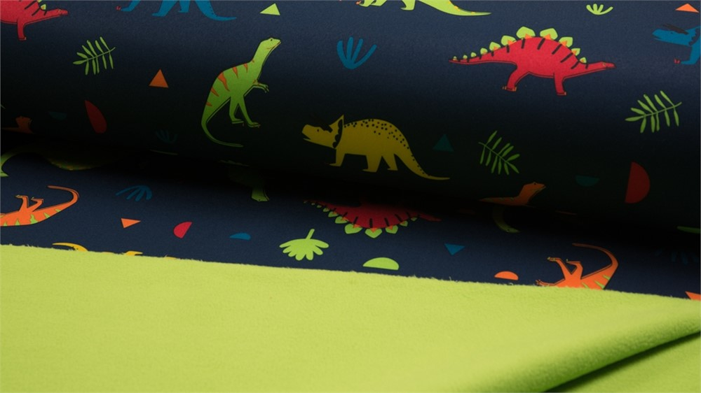 DINO NAVY Luxury PRINTED Soft Shell Waterproof Breathable Fabric Material
