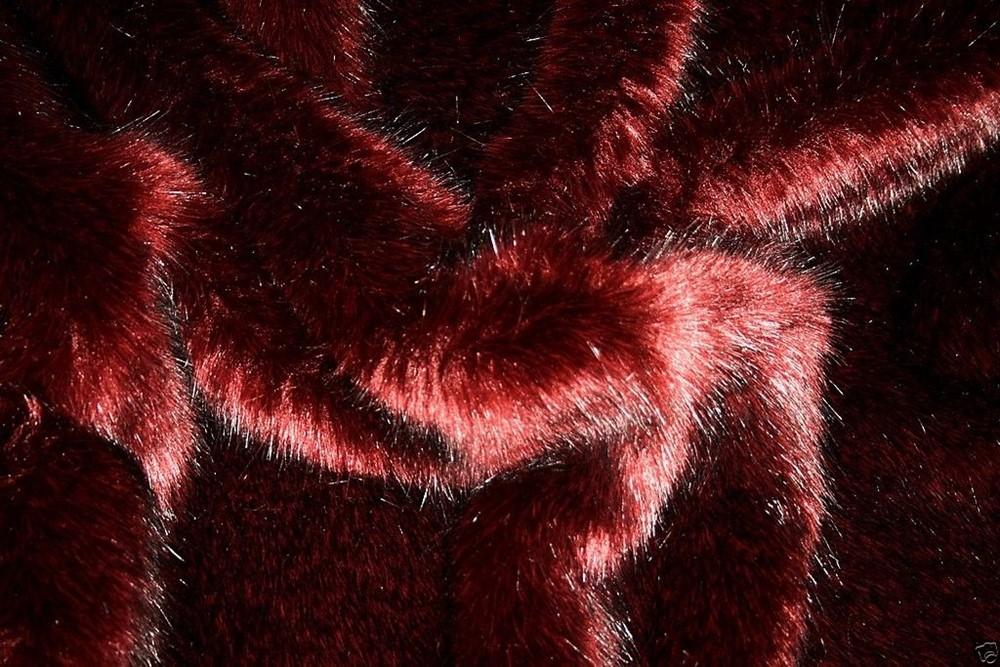 WINE SUPER LUXURY Short Plush Faux Fur Fabric Material