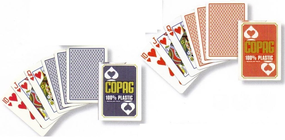 2 packs of Copag 100% Plastic Poker size Playing Cards