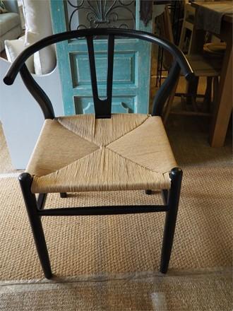 'Y' Wishbone Style dining chair - in black