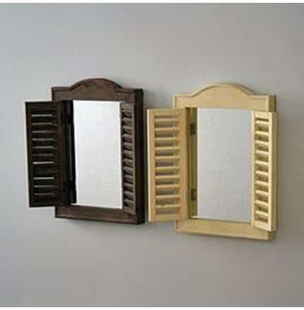 Arched Top Shutters Mirror - Cream