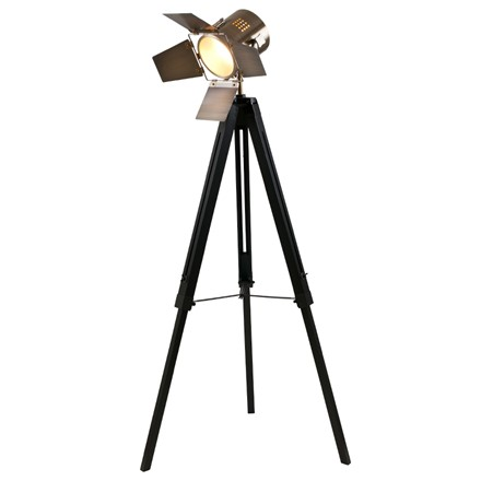 Black Wood Film Light & Antique Brass Head - Floor standard lamp