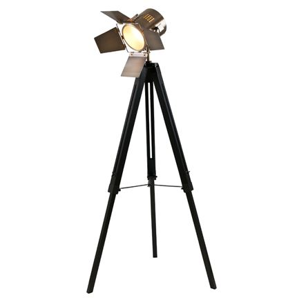 Black Wood Film Light & Antique Brass Head - Floor standard lamp