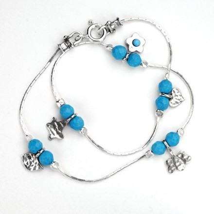 Blue torquoise charms necklace