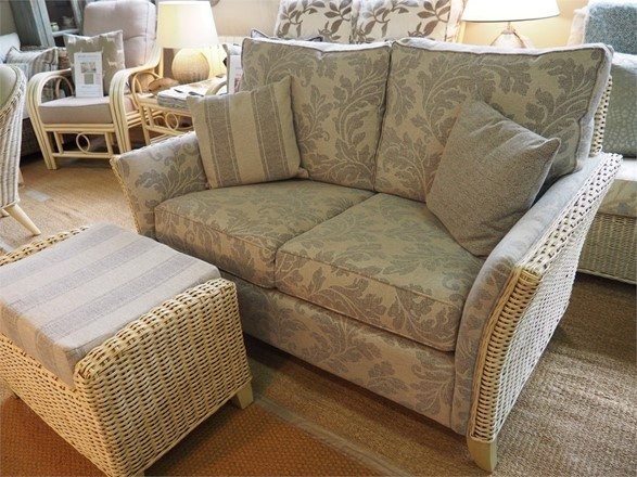 Cane furniture clearance - Ex display Arlington Sofa and Foot stool + 2x scatter cushions