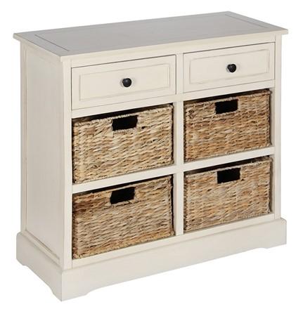 Cream Wood 2 Drawer 4 Basket Unit