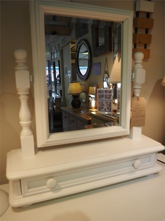 EX DISPLAY OFFER - Ascot Dressing Table Mirror With Drawer in snow white