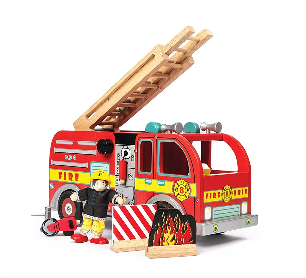Fire Engine Set with Firefighters - Wooden Toys by Le Toy Van