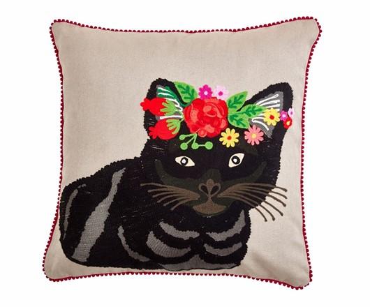 Floral Grey Tiger Cat Cushion