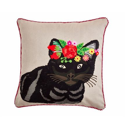 Floral Grey Tiger Cat Cushion