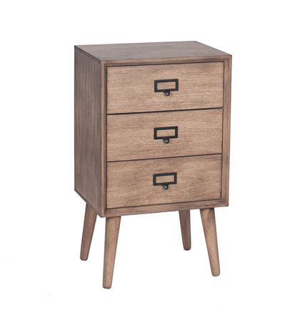 Klimt - Desert Brown Pine Wood 3 Drawer Unit - bedside - lamp table