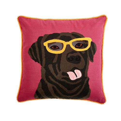 Labrador with Glasses Cushion