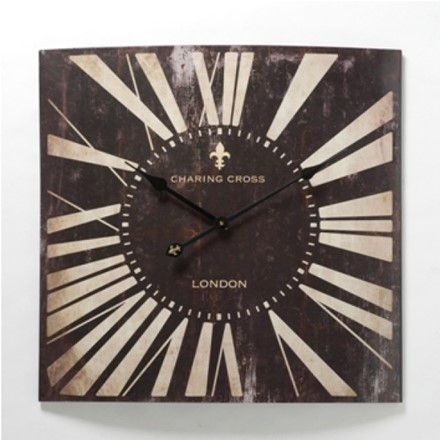 Large Antiqued Black Metal Wall Clock