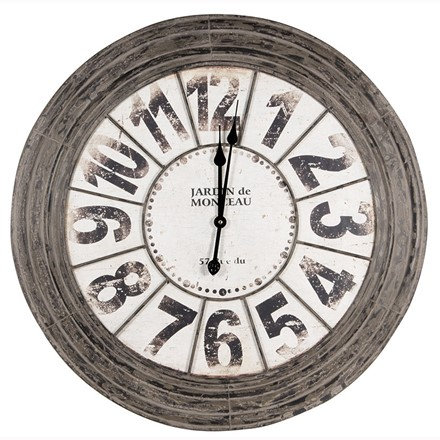 Large Metal Round Wall Clock - Antique Grey finish