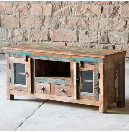 Little Tree Reclaimed Furniture - Mary Rose Upcycled 2 Door 2 Drawer TV Unit