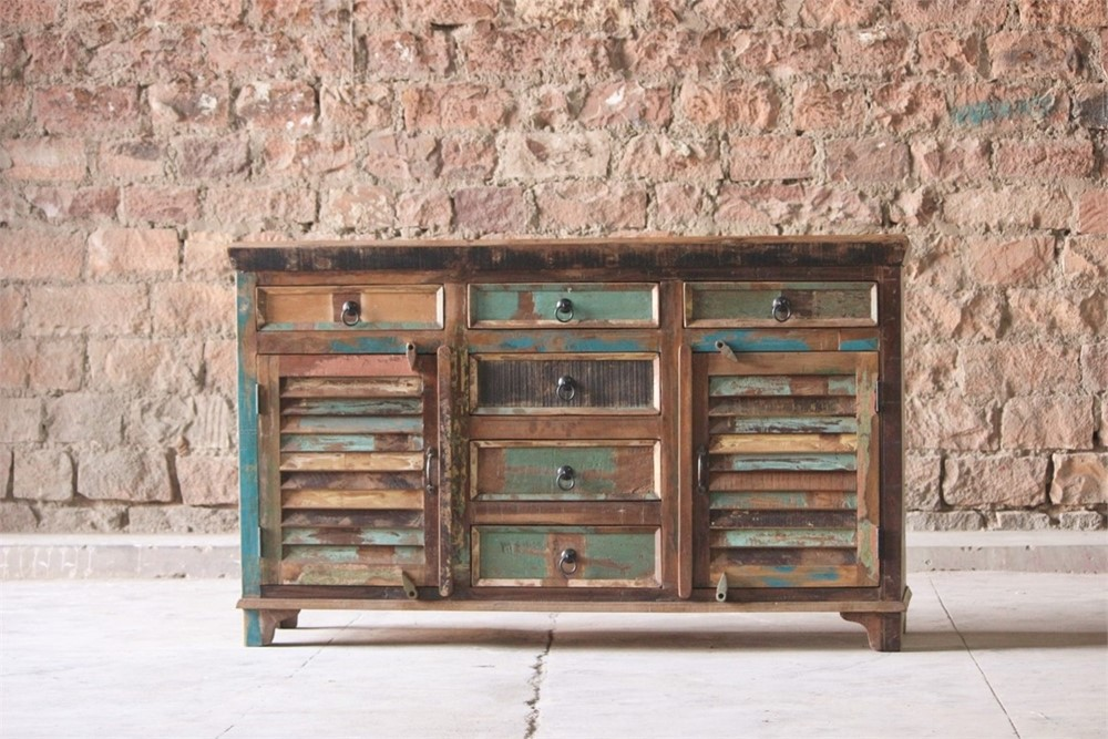 Little Tree Reclaimed Furniture - Mary Rose Upcycled 6 Drawer 2 slatted Door Sideboard