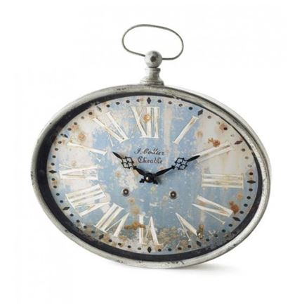 Metal Oval Clock With Distressed Dial