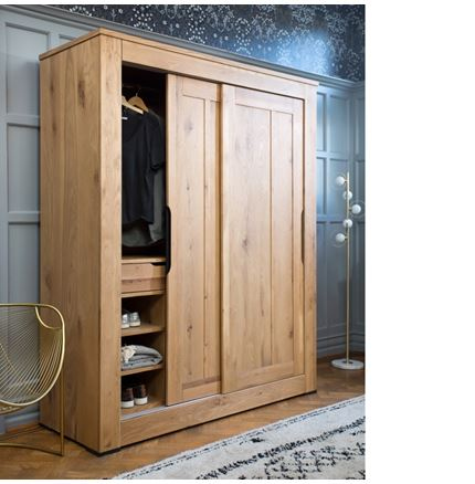 Milan Bedroom Furniture - EX DISPLAY Double Wardrobe includes internal cabinet