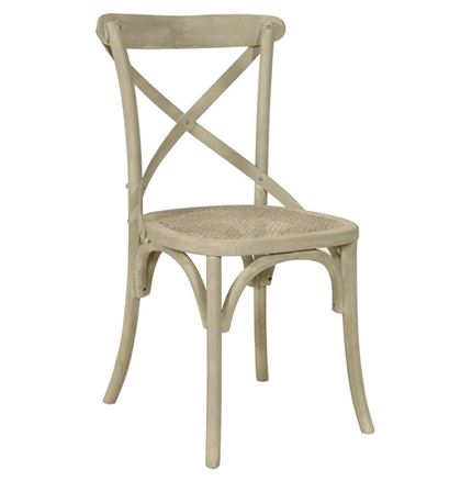NOW SOLD - SPECIAL OFFER  - SET OF 4 Canterbury Cross Back / bent wood Dining Chairs - Vintage Sand (grey wash)
