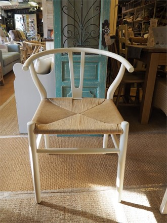 NOW SOLD - set of 2 'Y' Wishbone Style dining chairs - in white
