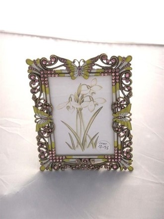 Photo Frame - Pink Stone & Lime Butterfly