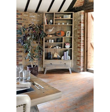 Rustica Dining Furniture - EX DISPLAY - Tall Display unit with removable shelves and bottom drawer