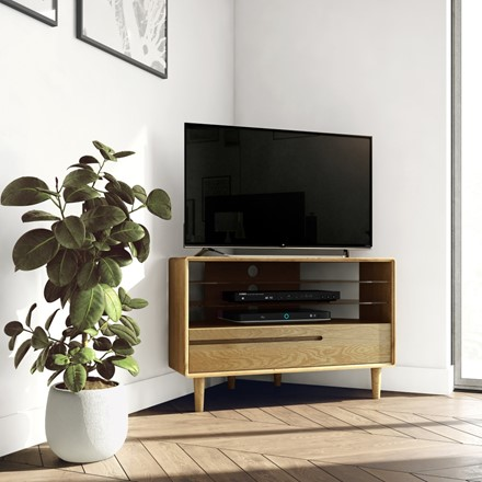 Scandic Corner TV Unit - Solid Oak