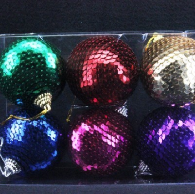 Sequin Ball box of 6 assorted - Christmas decorations