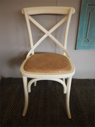 Valence Cross Back / bent wood Dining Chair - Cream