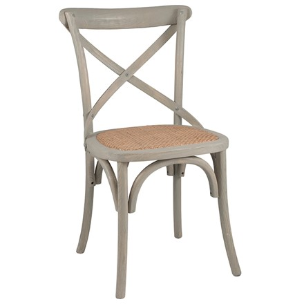 Vintage Sand (greywash) Elm Wood & Rattan - Cross back bentwood -Dining Chair