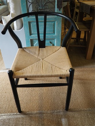 set of 2 'Y' Wishbone Style dining chairs - in black