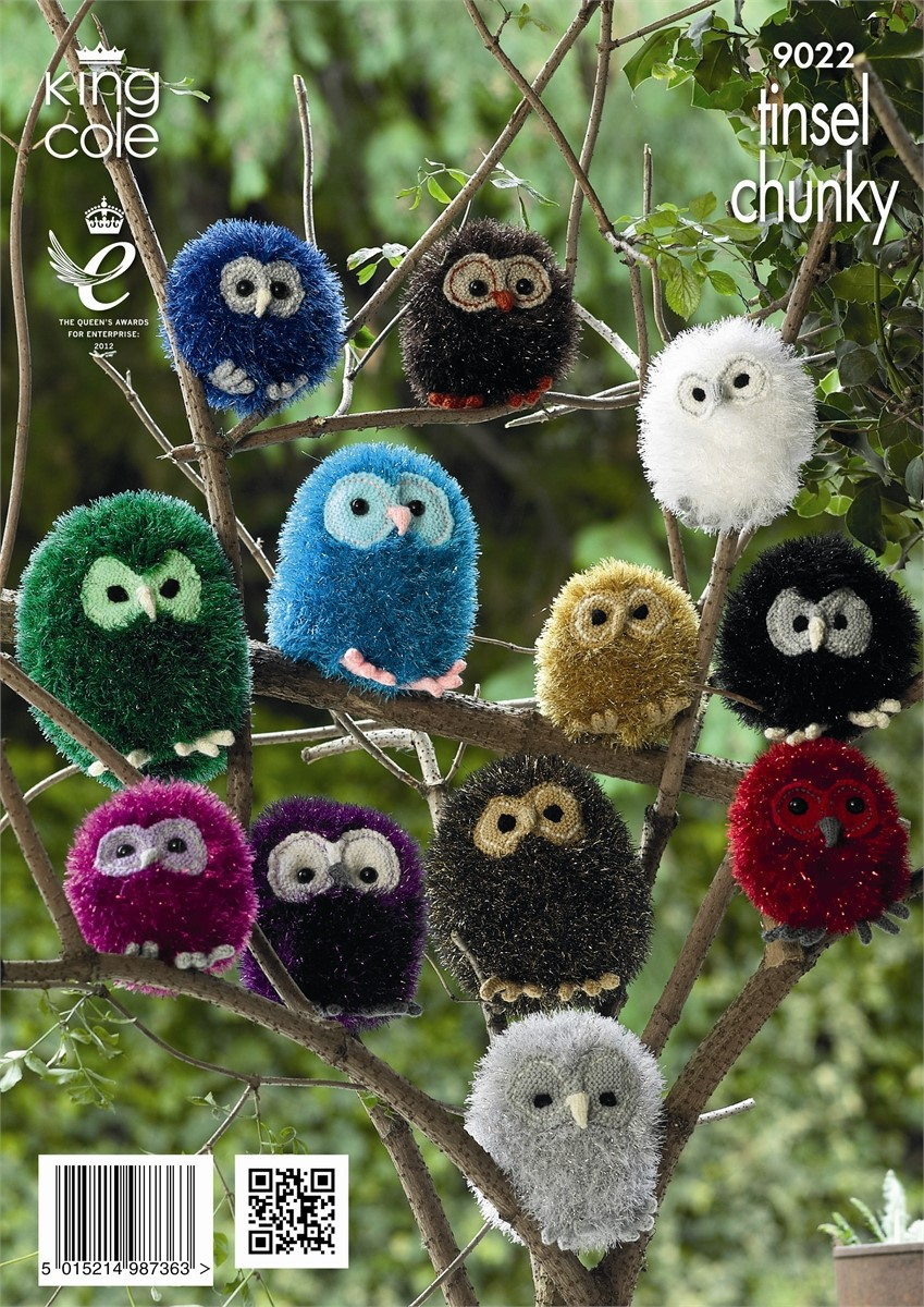 King Cole Tinsel Owl Knitting Pattern : King Cole Tinsel Chunky Owl Pattern KC9022 wool4less