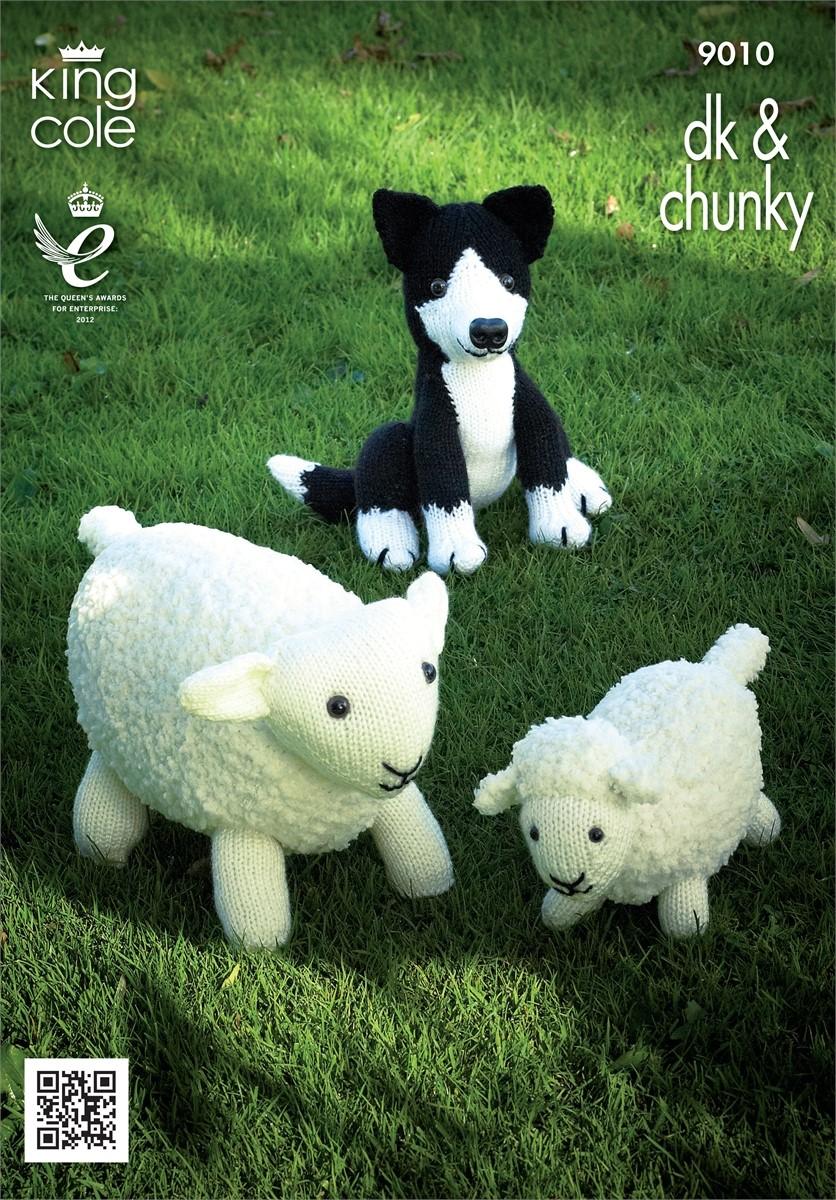 King Cole Toy Knitting Pattern : King Cole Sheep, Lamb & Sheepdog Pattern KC9010