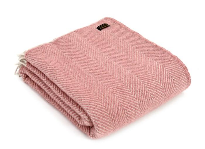 Wool Blanket Online. British made gifts. Herringbone Dusty Pink/Pearl Throw
