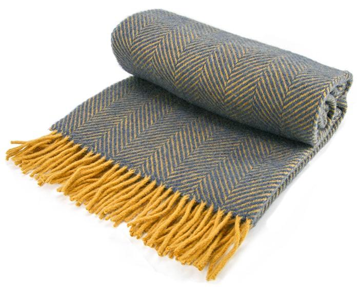 Herringbone Wool Knee Rug Navy Mustard