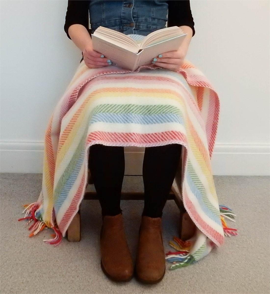 Wool Blanket Online. British Made Gifts. Rainbow Cream