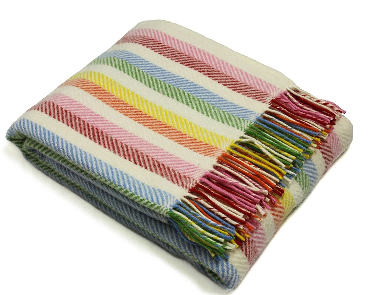 Wool Blanket Online British Made Gifts Stripe Pure New